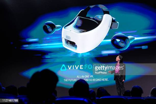 Cher Wang HTC Founder and CEO showing the HTC VIVE Focus Plus during a conference about the Immersive Content during the Mobile World Congress on...