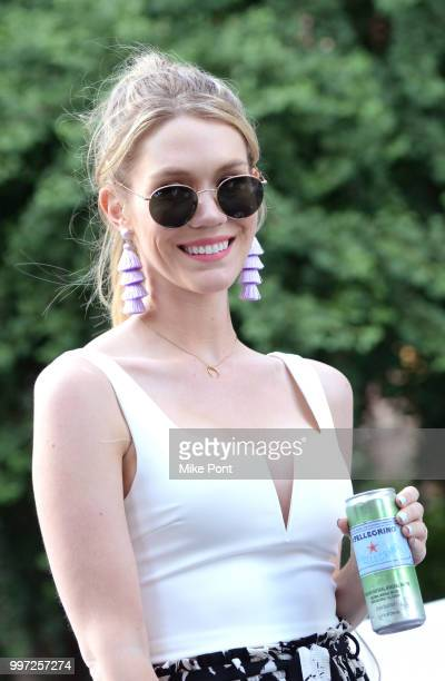 Cheralee Lyle attends SPellegrino's firstofitskind Manhattanhenge viewing celebration high above the streets of New York on July 12 2018 in New York...