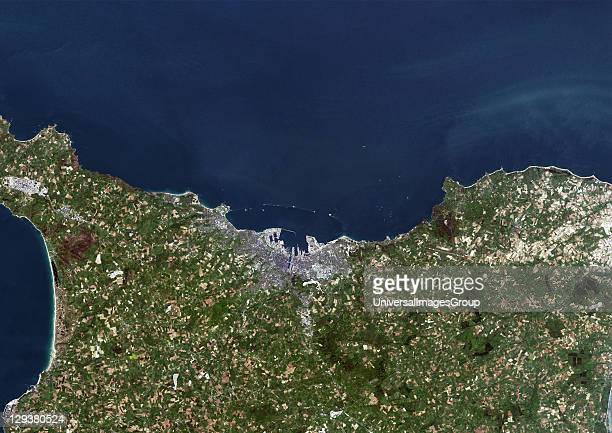 Cherbourg France True colour satellite image of the city of Cherbourg taken on 12 May 2002 using LANDSAT 7 data Cherbourg France True Colour...