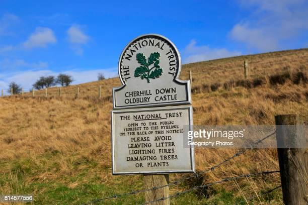 Cherhill Down Oldbury castle National Trust sign North Wessex Downs Wiltshire England UK