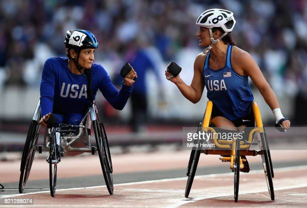 Cheri Madsen and Hannah McFadden both USA prepare to compete in the Womens 100m T54 final during day ten of the IPC World ParaAthletics Championships...