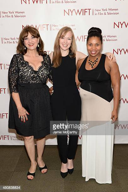 """Cheri Minns, Emma Potter and Erin Hicks of The Angriest Man In Brooklyn attend the 2014 New York Women In Film And Television """"Designing Women""""..."""