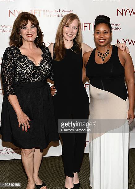 Cheri Minns Emma Potter and Erin Hicks of The Angriest Man In Brooklyn attend the 2014 New York Women In Film And Television Designing Women Awards...