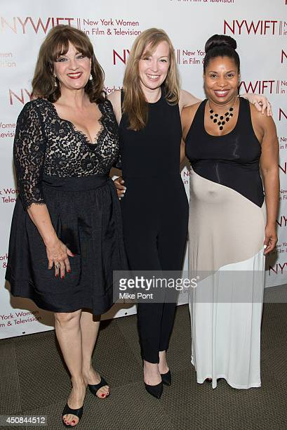 Cheri Minns, Emma Potter and Erin Hicks of The Angriest Man In Brooklyn attend the 2014 New York Women In Film And Television Awards Gala at McGraw...