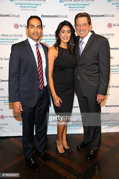 Cheri Singh Bob Mohapatra and Joe Namath attend An Evening Honoring Joe Namath at The Plaza Hotel on October 20 2016 in New York City