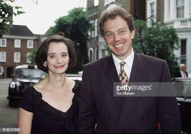 Cherie and politicianTony Blair attend a London party given by David Frost in Chelsea