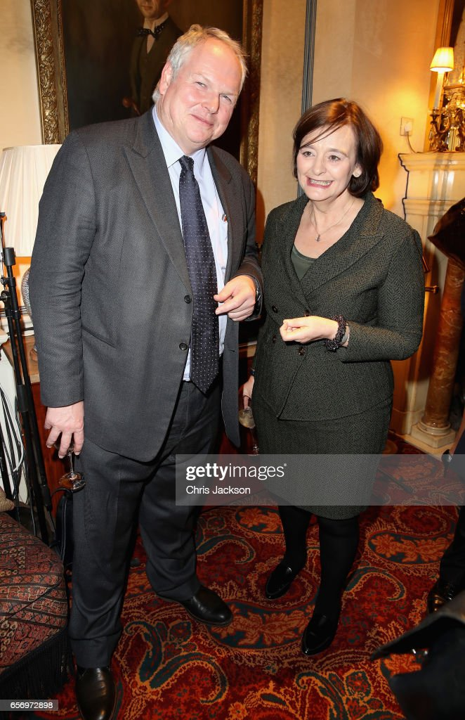 Cherie Blair and Adam Boulton attend the Glass Half Full party at Mark's Club on March 23, 2017 in London, United Kingdom.