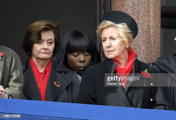 Cherie Blair and Norma Major attend the annual Remembrance Sunday memorial at The Cenotaph on November 11 2018 in London England The Armistice ending...