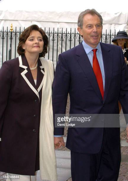 Cherie Blair and Prime Minister Tony Blair during Memorial Service for Lord Callaghan at Westminster Abbey in London Great Britain
