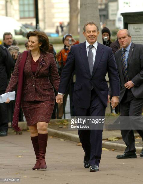 Cherie Blair and Prime Minister Tony Blair during Robin Cook Memorial Service at St Margarets Church Westminster in London Great Britain