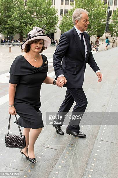 Cherie Blair and Tony Blair attend the service to commemorate the tenth anniversary of the London 7/7 bombings at St Pauls Cathedral on July 7 2015...