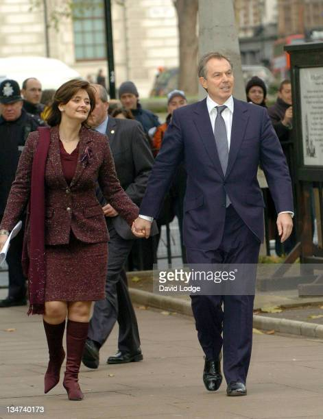 Cherie Blair and Tony Blair during Robin Cook Memorial Service at St Margarets Church Westminster in London Great Britain