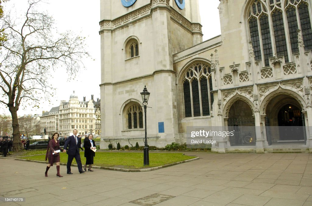Cherie Blair and Tony Blair during Robin Cook Memorial Service at St Margarets Church Westminster in London, Great Britain.