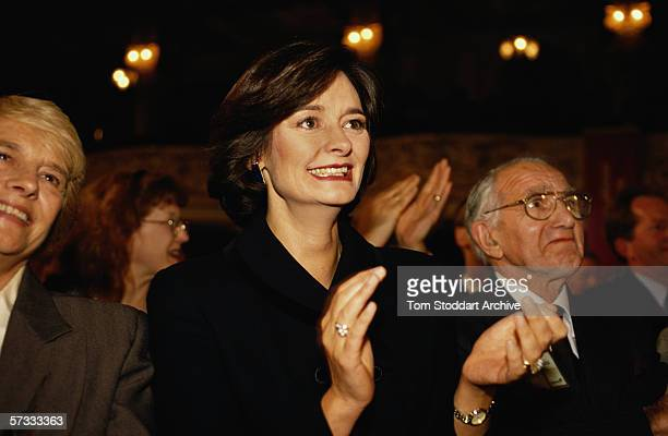 Cherie Blair applauds her husband Tony during a speech at the Labour Party conference in Blackpool Sitting on her left is the Prime Minister's father...
