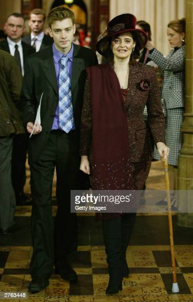 Cherie Blair British Prime Minister Tony Blair's wife and son Euan attend the State Opening of Parliament at the House of Lords on November 26 2003...