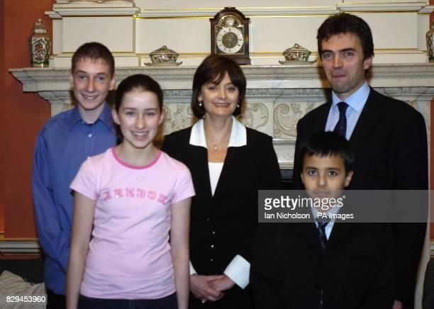 Cherie Blair centre meets Joe Reid Amy Carlse and Khalid elKaddi from Carshalton and Wallington with local MP Thomas Brake