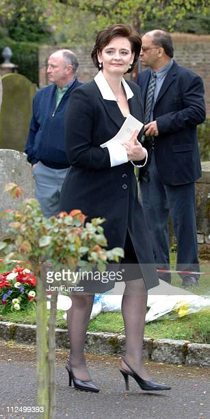 Cherie Blair during Funeral of Actor Sir John Mills April 27 2005 at The Parish Church of Saint Mary the Virgin in Denham Great Britain