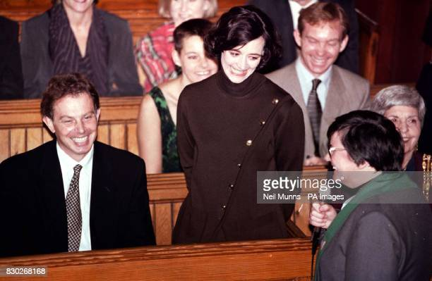 Cherie Blair is asked to introduce herself to the congregation by the Reverend Mary Bailey at the Dome Methodist church in Brighton this morning when...