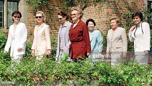 Cherie Blair leads the wives of the G8 leaders into the gardens at Chequers, the Prime Minister's official country home, 16 May. Cherie Blair,...