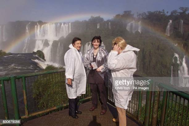 Cherie Blair the wife of British Prime Minister Tony Blair at the Iguacu Falls on the Brazil/Argentina border with Ruth Cardoso the wife of Brazilian...