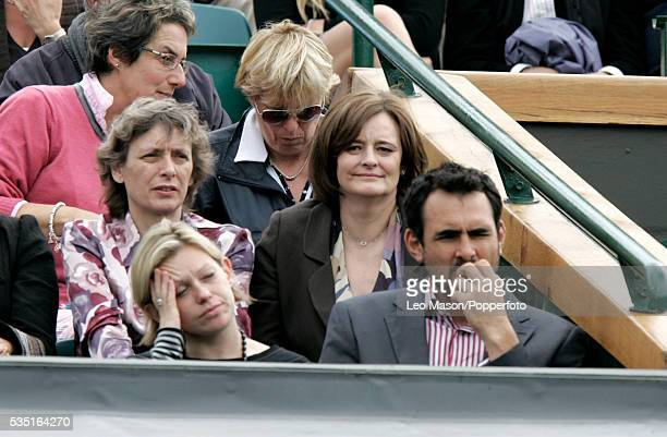 Cherie Blair watches a match on Centre Court during the 2007 Wimbledon Tennis Championships at the All England Lawn Tennis Club in Wimbledon London...