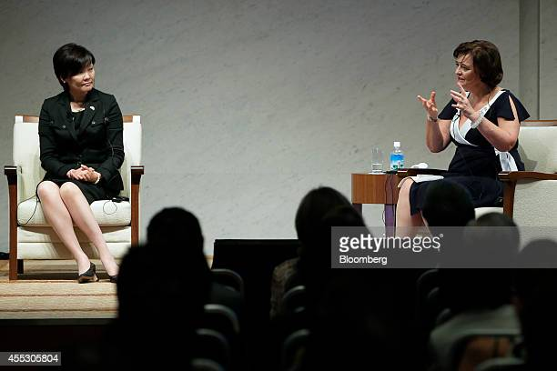 Cherie Blair wife of former UK Prime Minister Tony Blair and founder of the Cherie Blair Foundation for Women right speaks during a dialogue session...