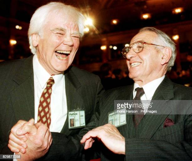 Cherie Blair's father Tony Booth laughs along with Tony Blair's father Leo Blair after the Labour Party leader's speech to conference this afternoon...
