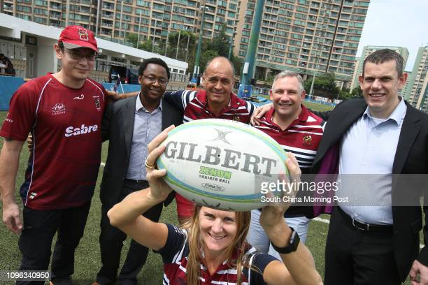 Cherie Christian Johnson Harvey Gamu Chiwenga Stan Christian Jason Conlin and Brad Emery of Kowloon Rugby Club members pose for a picture for their...
