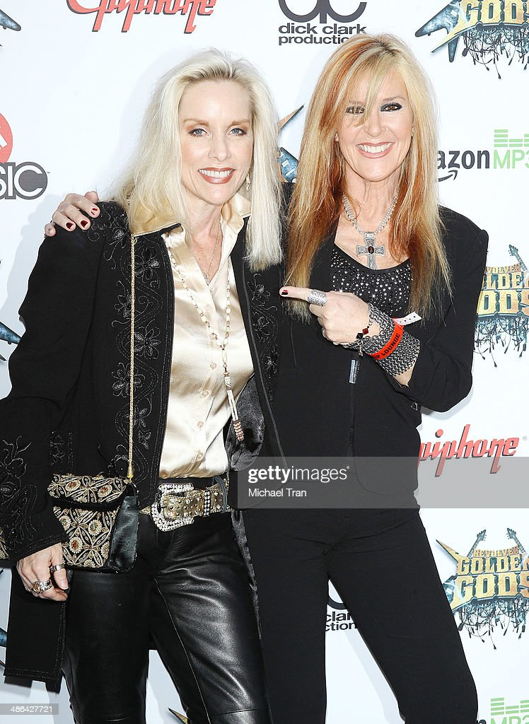 Cherie Currie and Lita Ford arrive at the 6th Annual Revolver Golden Gods Award Show held at Club Nokia on April 23, 2014 in Los Angeles, California.