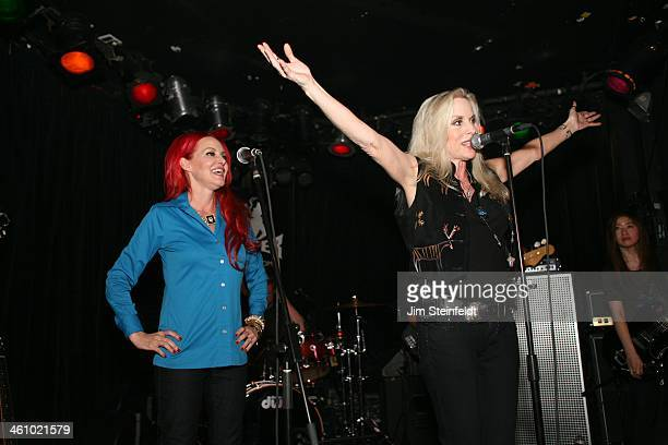 Cherie Currie of the Rock band The Runaways performs with Gretchen Bonaduce at the Viper Room in Los Angeles California on December 6 2013