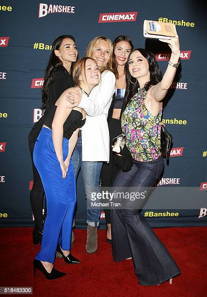 Cherie Jimenez Ryann Shane Tanya Clarke Ana Ayora and Eliza Dushku pose for a selfie at the Los Angeles premiere of Cinemax's 'Banshee' the 4th and...