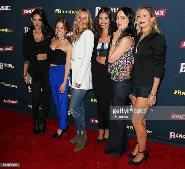 Cherie Jimenez Ryann Shane Tanya Clarke Ana Ayora Eliza Dushku and Jennifer Landon attend the premiere of Cinemax's 'Banshee' 4th Season at UTA on...