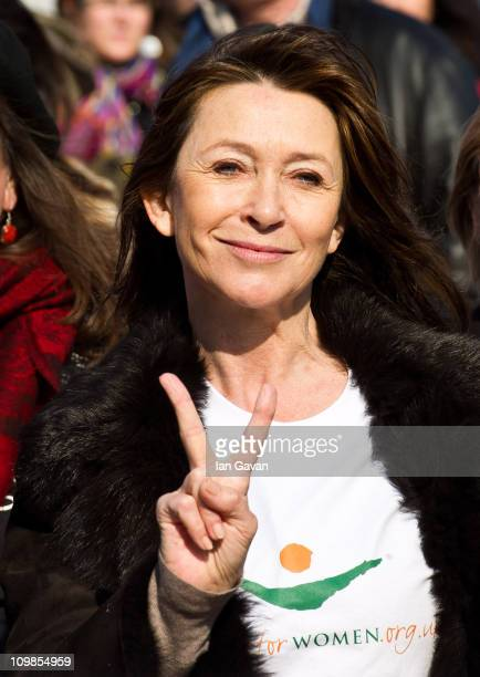 Cherie Lunghi attends photocall ahead of a march in aid of International Women's Day at the Millenium Bridge on March 8 2011 in London England