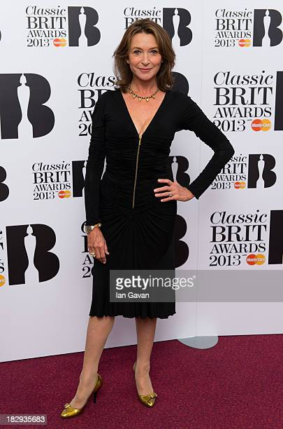 Cherie Lunghi Presenter of Male Artist of the Year poses in the winners room at the Classic BRIT Awards 2013 at Royal Albert Hall on October 2 2013...