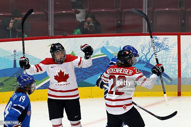 Cherie Piper of Canada celebrates after scoring a goal against Finland in the first period during the ice hockey women's semifinal game on day 11 of...