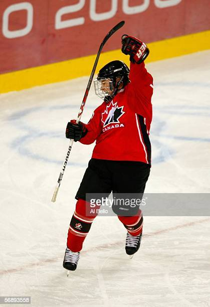 Cherie Piper of Canada celebrates her second period goal to make the score 30 over Sweden during the final of the women's ice hockey during Day 10 of...