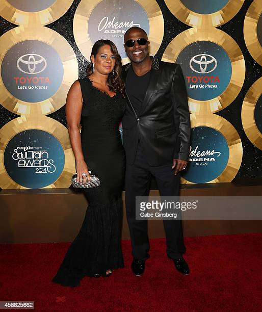 Cherie Winans and her husband Carvin Winans of 3 Winans Brothers arrive at the 2014 Soul Train Music Awards at the Orleans Areana on November 7 2014...