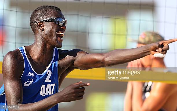 Cherif Younousse of Qatar celebrates during the gold medal match between Cherif Younousse and Jefferson Santos Pereira of Qatar against Oleg...