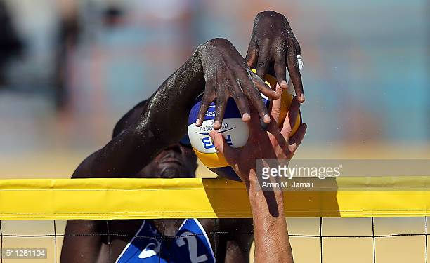 Cherif Younousse of Qatar in action during the FIVB Kish Island Open match between between Cherif Younousse of and Jefferson Santos Pereira of Qatar...