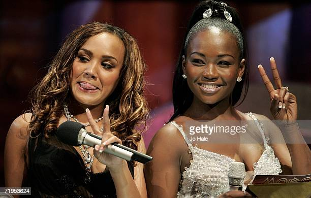 Cherise and Nadia of Big Brovaz read nominations at the MOBO Awards 2006 at the Royal Albert Hall on September 20 2006 in London England