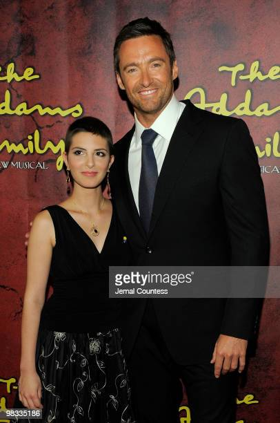 Cherise Mitchell of the Make a Wish Foundation and actor Hugh Jackman attend the Broadway opening of The Addams Family at the LuntFontanne Theatre on...