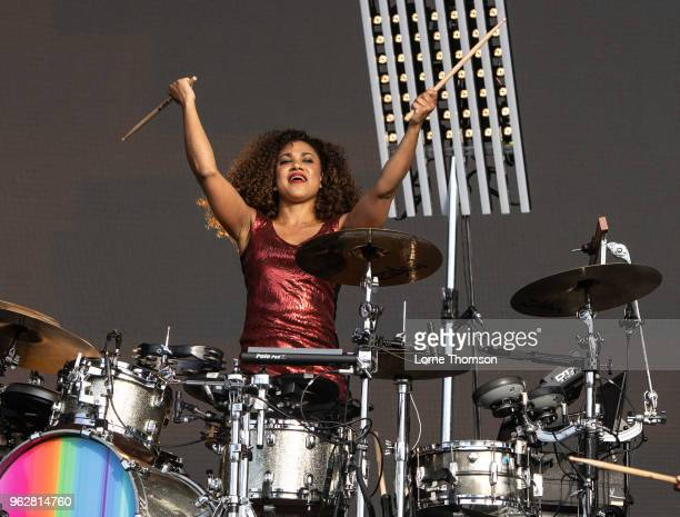 Cherisse Osei of Simple Minds performs at BBC Radio The Biggest Weekend at Scone Palace on May 26 2018 in Perth Scotland