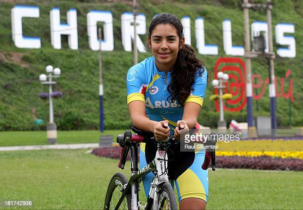 Cherley Van Der Linden of Aruba, winner of the Mixed Team Time Trial Women Final competition, poses for a picture as part of the I ODESUR South...