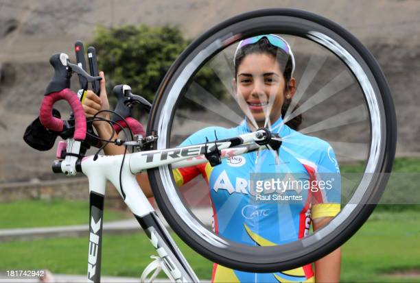 Cherley Van Der Linden of Aruba winner of the Mixed Team Time Trial Women Final competition poses for a picture as part of the I ODESUR South...