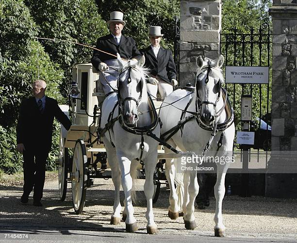 Cherly Tweedy leaves Wrotham Park in a horse-drawn carriage with blacked out windows to cross the road to Wrotham church where she will marry Ashley...