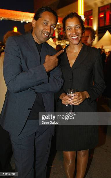 Cherno Jobatey and his sister Franncine attend the Hoffest party at Berlin's City Hall on September 7 2004 in Berlin Germany