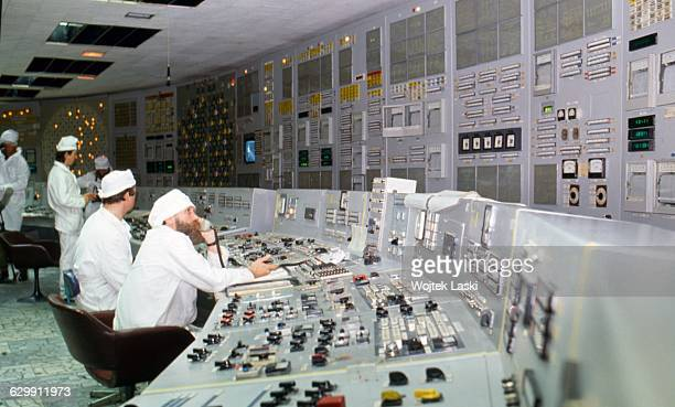 Chernobyl nuclear power plant a few months after the disaster. Chernobyl, Ukraine, USSR, 1986.