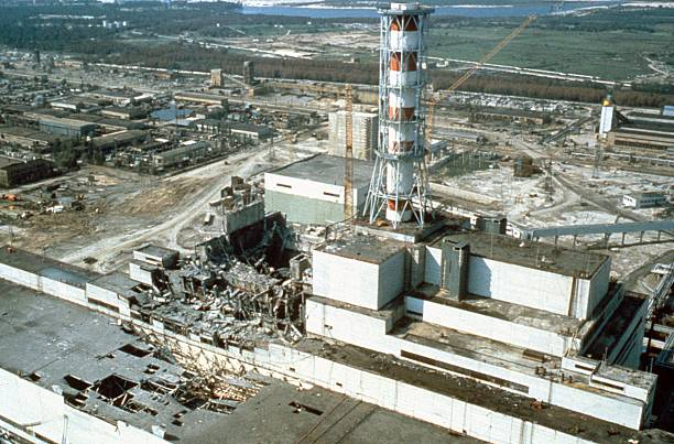 Chernobyl nuclear power plant a few weeks after the disaster. Chernobyl, Ukraine, USSR, May 1986.