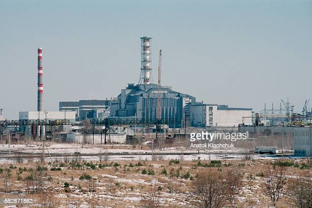 Chernobyl nuclear power plant's reactor n° 4 and its sarcophagus.