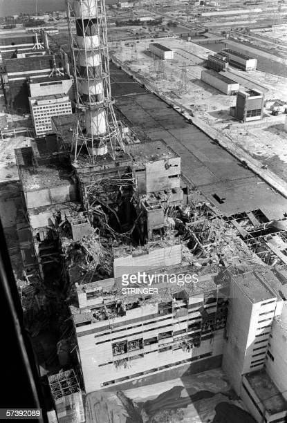 - Picture taken from a helicopter in April 1986 shows a general view of the destroyed 4th power block of Chernobyl's nuclear power plant few days...